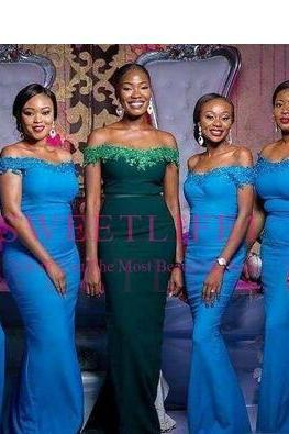 2018 Custom Made South African Mermaid Bridesmaid Dresses Applique Sequins Off Shoulder Maid of Honor Gowns Wedding Guest Dress Plus Size