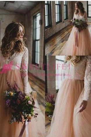 Vintage Country Wedding Dresses with Long Sleeves Lace Blush Tulle V Neck 2018 Bohemia Garden Beach Plus Size Bridal Wedding Gowns Cheap