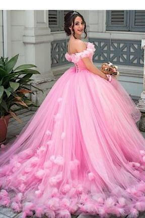 Pink Wedding Dresses Ball Gown Princess Puffy 2018 pink Tulle Masquerade Sweet 16 Dress Backless Prom Girls vestidos de 15 anos
