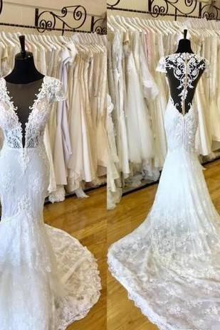 Custom Made Lace Mermaid Wedding Dresses Real Picture 2018 Plunging V Neck See Through Backless Bridal Gowns with Court Train