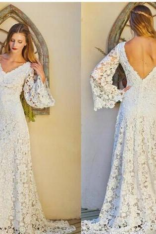 Vintage Full Lace Sheath Bohemian Hippie Wedding Dresses V Neck Long Sleeves Sexy Open Back Summer Beach Garden Bridal Wedding Gowns