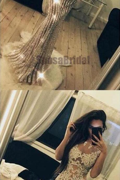 Long Yellow Satin Open Back Prom Dresses Leg Slit Evening GownsSparkly Beading Charming Fashion Stunning Gorgeous High Quality Prom Dresses, Evening dresses