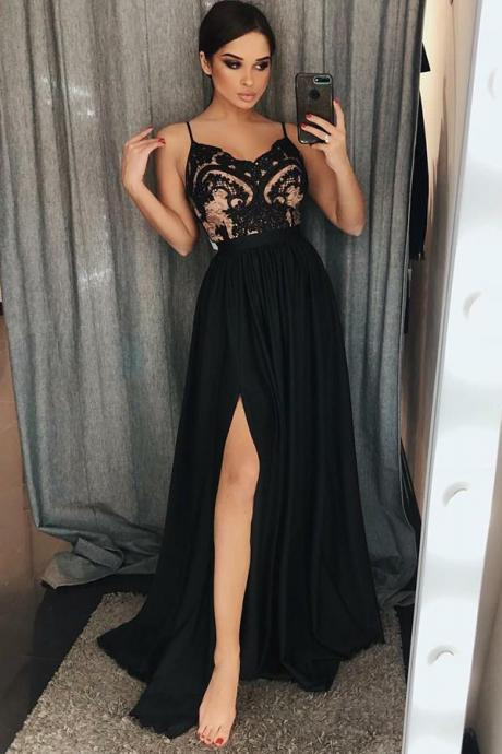 Unique A-Line Spaghetti Straps Black Split Long Prom Dress with Lace