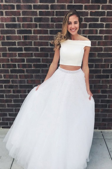 Two Piece Off-the-Shoulder Floor-Length White Prom Dress with Beading