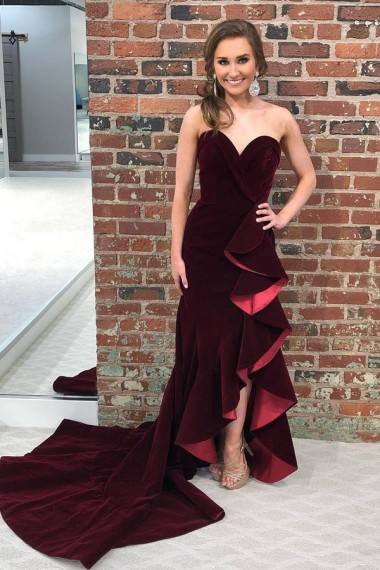 Mermaid Sweetheart Sweep Train Burgundy Velvet Prom Dress with Ruffles