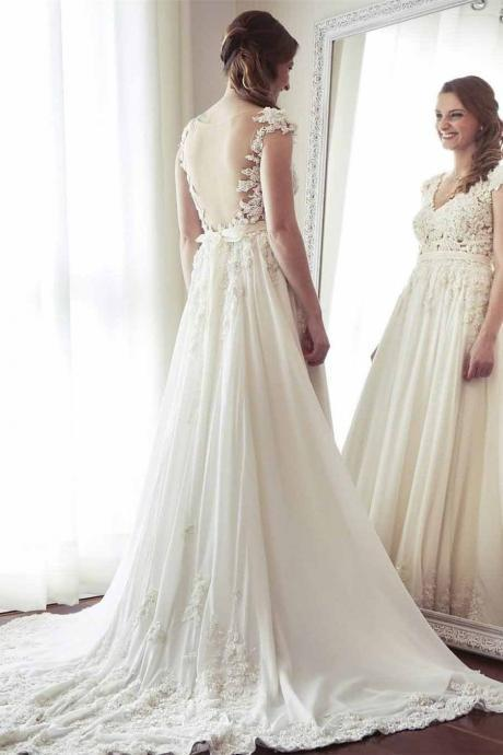 A-Line V-Neck Chiffon with Lace Appliqued Cap Sleeves Ivory Chapel Train Wedding Dresses