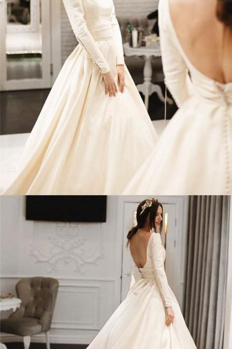 Unique Sexy Simple Wedding Dresses, Satin Long Wedding Dress, Boat Neck with Open Back Long Sleeves Bridal Dress
