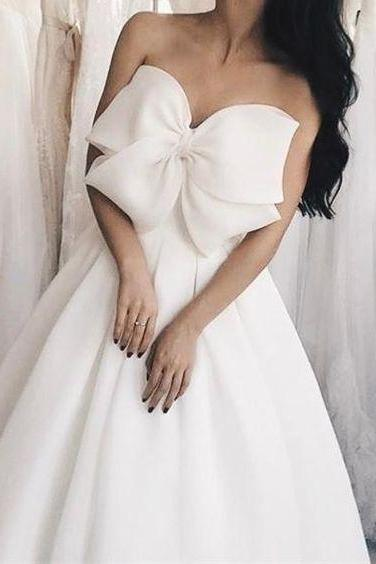 Bow Wedding Dresses Occasion:Wedding Dress, Simple Satin Long Wedding Dresses, Bridal Dress Wedding Dresses