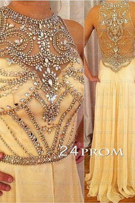 2016 Prom Dress Mermaid Sheath Beige Sheer Neck Crystals Beads Rhinestones Hollow Back Chiffon Long Formal Evening Party Gowns Vestidos