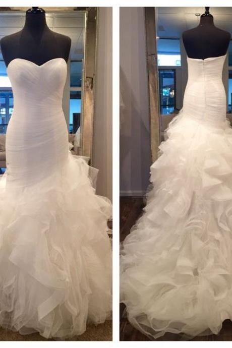 2016 Real Imag Wedding Dresses Vestidos de Novia Mermaid White Sweetheart Tiered Ruffle Organza Long Wedding Dress Bridal Gowns