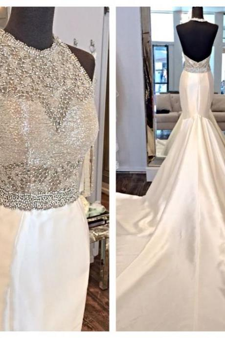 2016 Real Imag Wedding Dresses Vestidos de Novia Mermaid White Sheer Neck Satin Backless Beads Lace Long Wedding Dress Bridal Gowns