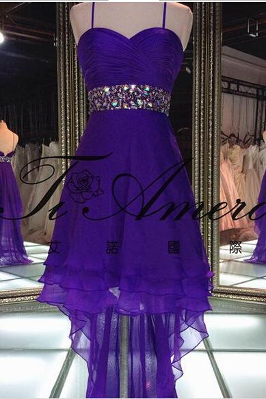 2016 Real Image Prom Dress Sexy Hi-lo Royal Blue Spaghetti Straps Beads Sash Chiffon Formal Evening Party Gowns Vestidos