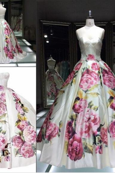 2016 Real Imag Elegant Gorgeous Prom Dresses Ball Gown Sweetheart Floral Print Long Formal Party Evening Dress Gowns