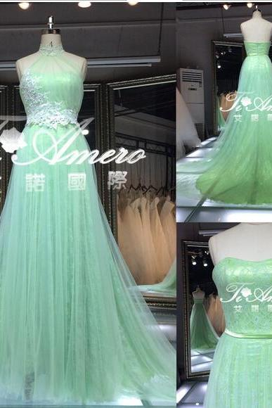 2016 Real Image Prom Dress Elegant Mermaid Light Green Sheer Neck Appliques Tulle Long Formal Evening Party Gowns Vestidos