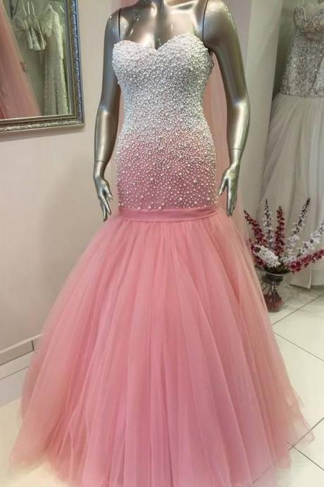 2015 Real Iamge Picture Luxury Bling Sparkle Evening Dresses Mermaid Pink Crystals Beads Tulle Long Formal Prom Party Gowns