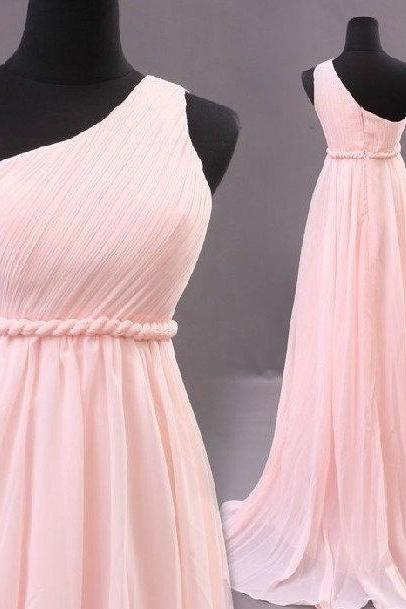 2015 Real Iamge Bridesmaid Dresses A-Line Light Pink One Shoulder Chiffon Long Formal Dress Gowns