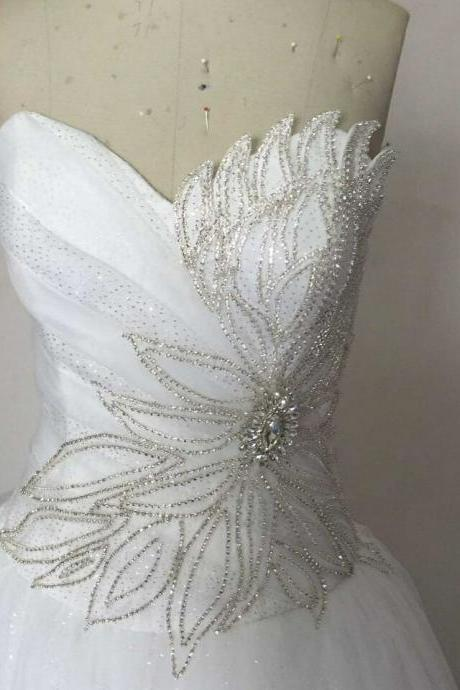 2015 Real Image Picture Wedding Dresses A-Line White/Ivory Sweetheart Beads Crystals Lace Up Bridal Gowns Vesridos