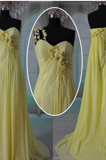 2015 Real Image Picture Evening Dresses A-Line Yellow One Shoulder Handmade Flower Chiffon Long Formal Prom Party Gowns Vetsidos