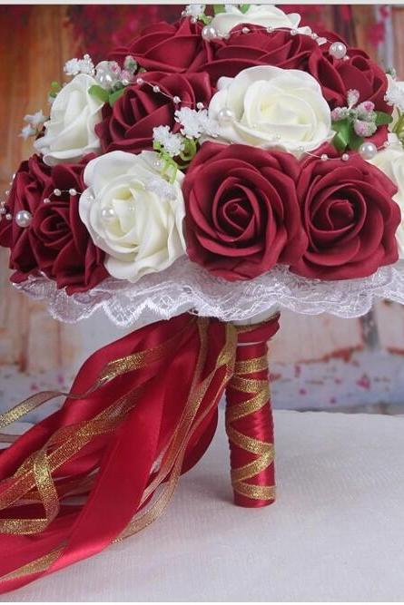 2015 Burgundy&White Handmade Flowers Decorative Artificial Rose Flowers Pearls Bride Bridal Lace Accents Wedding Bouquets