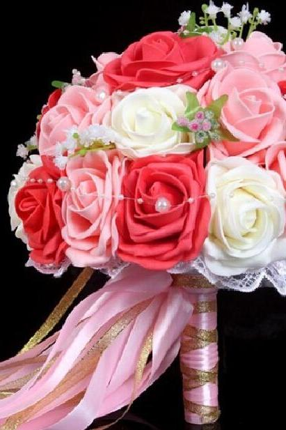 2015 Cheap Wedding Bouquet Pink/Red/White Bridal Bridesmaid Flower Artificial Flower Rose Bouquet Bride Buque de noiva