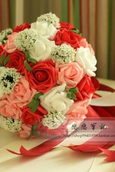 2016 Free Shipping Cheap In Stock Romantic Colorful Red/Purple/Pink Beautiful Wedding Bouquet Bridal Bridesmaid Rose Flowers