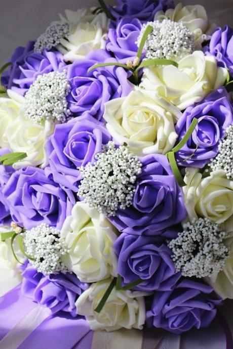 2016 Cheap Wedding Bouquet Bridal Bridesmaid Flower Pink/Red/Purple/Orange Artificial Flower Rose Bride Bouquets buque de noiva