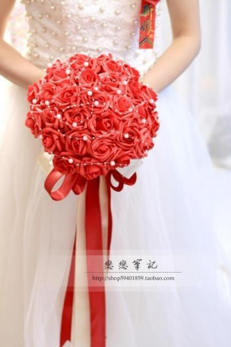 2016 Hot Sale! Bouquet Bride Red Bridesmaid Flowers Wedding Bouquet Artificial Rose Bridal Accessory