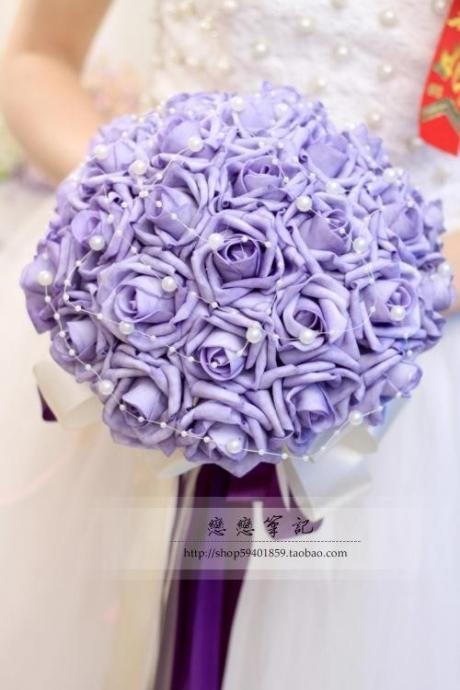 2016 Hot Sale! Gelin Buketi Bouquet Bride Purple Bridesmaid Flowers Wedding Bouquets Artificial Rose Bridal Accessory