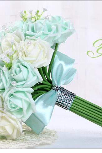 2016 Cheap Wedding Bouquet Bridal Bridesmaid Light green Colorful Artificial Flower Rose Bride Bouquets buque de noiva