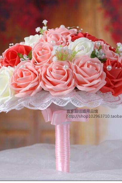 2016 Cheap Wedding Bouquet Bridal Bridesmaid White&Pink&Red Colorful Artificial Flower Rose Bride Bouquets buque de noiva