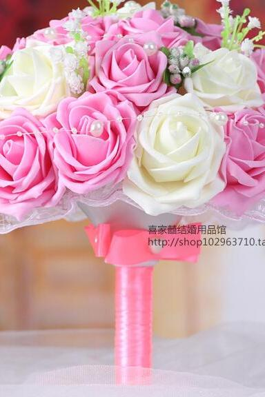 2016 Cheap New Arrival Romantic Ivory&Pink Bridal Bridesmaid Handmade Artificial Rose Wedding/Bridesmaid Bouquets Accessory