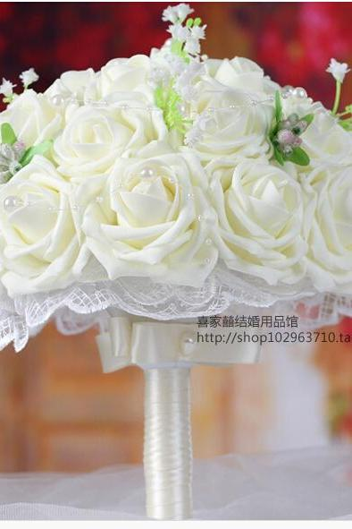 2016 Cheap New Arrival Romantic Ivory Bridal Bridesmaid Handmade Artificial Rose Wedding/Bridesmaid Bouquets Accessory
