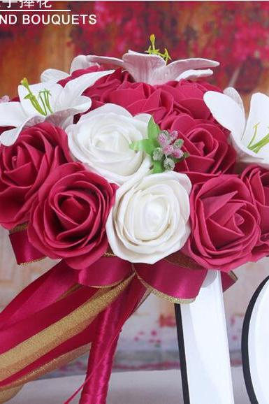 2016 Cheap Romantic White&Red Bridal Bridesmaid Flowers Handmade Artificial Rose Wedding/Bridesmaid Bouquets Bridal Accessory