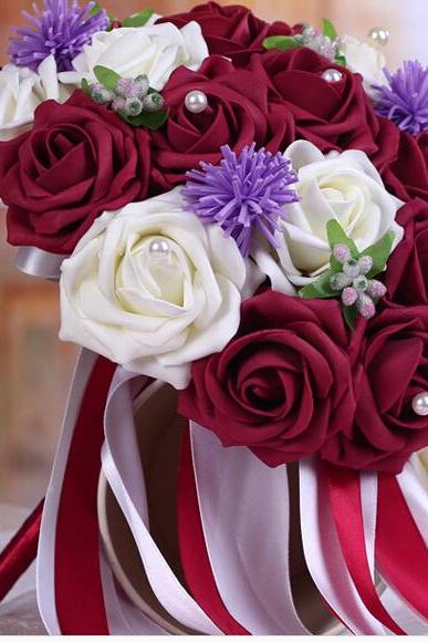 2016 Cheap Romantic White&Burgundy/Red Wine Bridal Bridesmaid Flowers Handmade Artificial Rose Wedding/Bridesmaid Bouquets Bridal Accessory