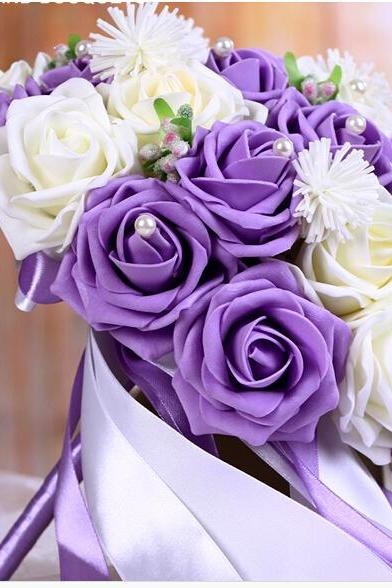 2016 Cheap Romantic Purple&Pink Wine Bridal Bridesmaid Flowers Handmade Artificial Rose Wedding/Bridesmaid Bouquets Bridal Accessory