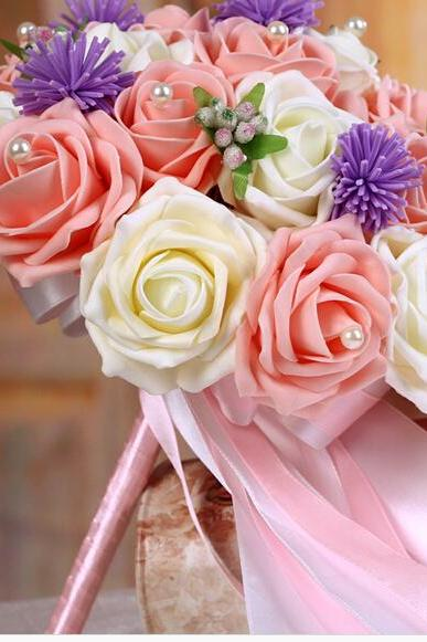 2016 Cheap Romantic Pink&Ivory Bridal Bridesmaid Flowers Handmade Artificial Rose Wedding/Bridesmaid Bouquets Bridal Accessory