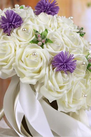 2016 Cheap Romantic Ivory Bridal Bridesmaid Flowers Handmade Artificial Rose Wedding/Bridesmaid Bouquets Bridal Accessory