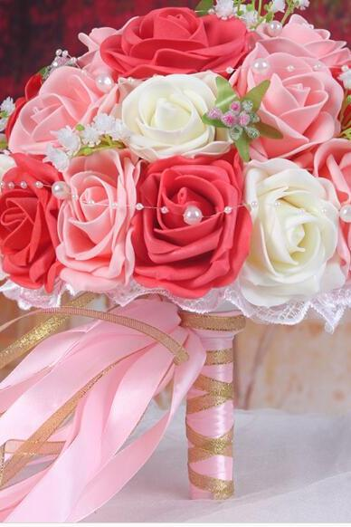 2016 Cheap Romantic Ivory&Red&Pink Bridal Bridesmaid Flowers Handmade Artificial Rose Wedding/Bridesmaid Bouquets Bridal Accessory