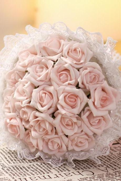 2016 Cheap Romantic High Quality Light Pink Bridal Bridesmaid Flowers Handmade Artificial Rose Wedding/Bridesmaid Bouquets Bridal Accessory