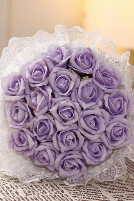 2016 Cheap Romantic High Quality Light Purple Bridal Bridesmaid Flowers Handmade Artificial Rose Wedding/Bridesmaid Bouquets Bridal Accessory