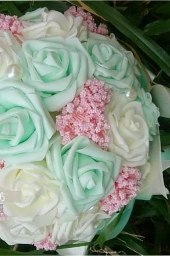 2016 Cheap Romantic High Quality Colorful Bridal Bridesmaid Flowers Handmade Artificial Rose Wedding/Bridesmaid Bouquets Bridal Accessory