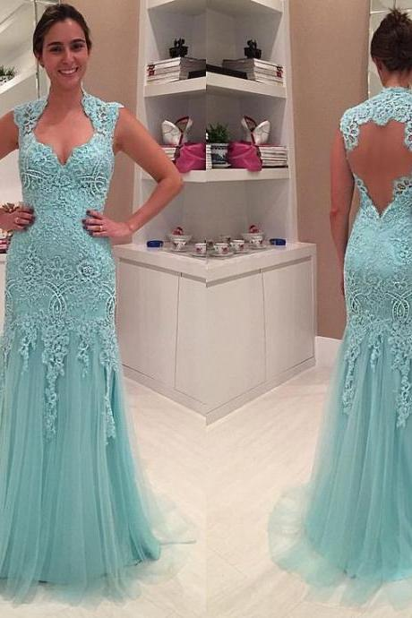 2016 Elegant Cheap Prom Dresses Mermaid Light Sky Blue Appliques Lace Backless Long Formal Evening Party Gowns robes de bal