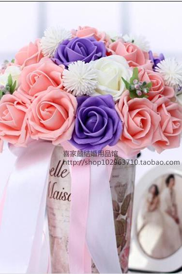 2016 30 Pieces Flowers Cheap Romantic White&Pink&Purple Bridal Bridesmaid Handmade Artificial Rose Wedding/Bridesmaid Bouquets