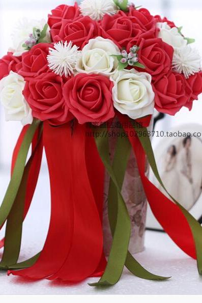 2016 30 Pieces Flowers Cheap Romantic White&Red Bridal Bridesmaid Handmade Artificial Rose Wedding/Bridesmaid Bouquets