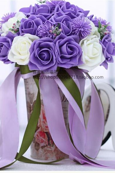 2016 30 Pieces Flowers Cheap Romantic White&Purple Bridal Bridesmaid Handmade Artificial Rose Wedding/Bridesmaid Bouquets