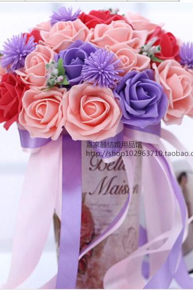 2016 30 Pieces Flowers Cheap Romantic Pink&Red&Purple Bridal Bridesmaid Handmade Artificial Rose Wedding/Bridesmaid Bouquets