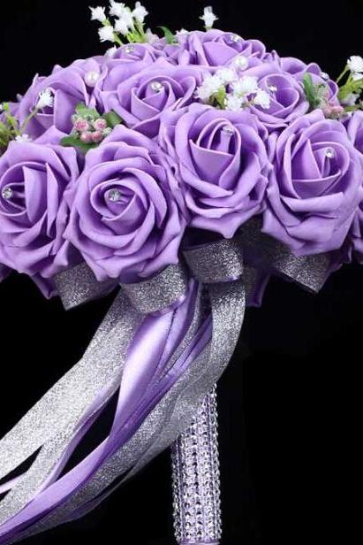 2016 New Arrival Flowers Cheap Romantic Purple Bridal Bridesmaid Handmade Artificial Rose Wedding/Bridesmaid Bouquets