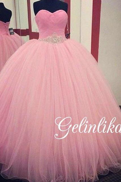 2016 Prom Dresses Cheap Real Image Pink Ball Gown Sweetheart Beads Crystal Sash Tulle Formal Evening Party Gowns robes de bal