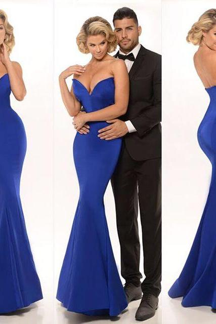 2016 Evening Dresses Sexy New Arrival Cheap Mermaid Sweetheart Royal Blue Sleeveless Long Formal Evening Party Gown Abendkleider