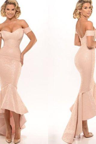 2016 Sexy Cheap Evening Dresses New Arrival Elegant Mermaid Blush Off Shoulder Satin Formal Prom Party Gown robes de soiree